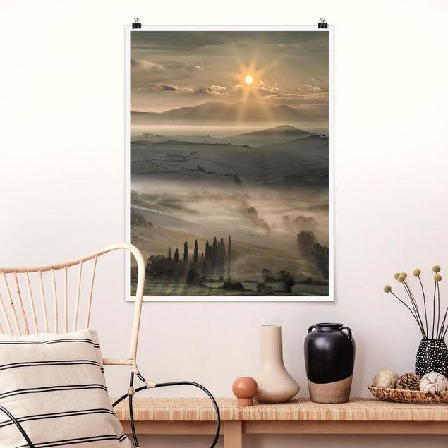 Poster - Toskana-Morgen - Hochformat 3:4