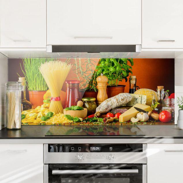 Spritzschutz Glas - Italienische Küche - Panorama - 5:2