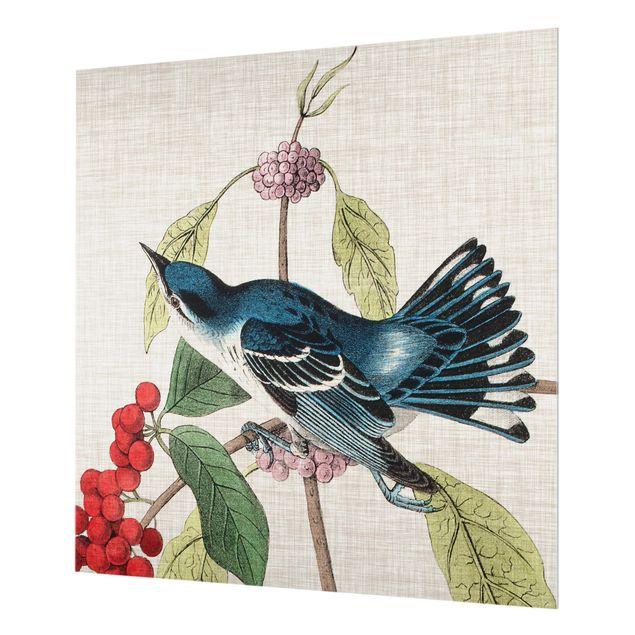 Glas Spritzschutz - Vogel auf Leinen Rosa II - Quadrat - 1:1