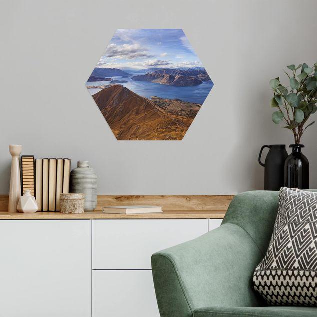 Hexagon Bild Alu-Dibond - Roys Peak in Neuseeland