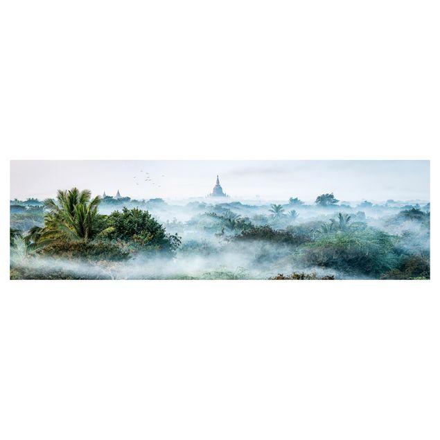 Küchenrückwand - Morgennebel über dem Dschungel von Bagan