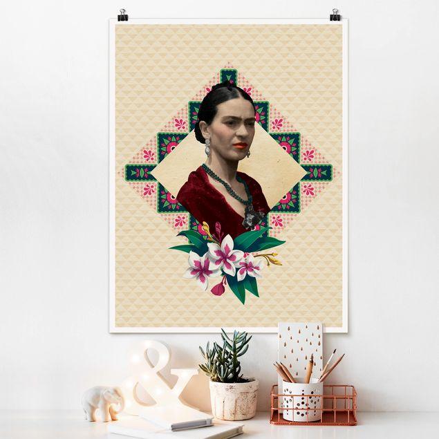 Poster - Frida Kahlo - Blumen und Geometrie - Hochformat 3:4