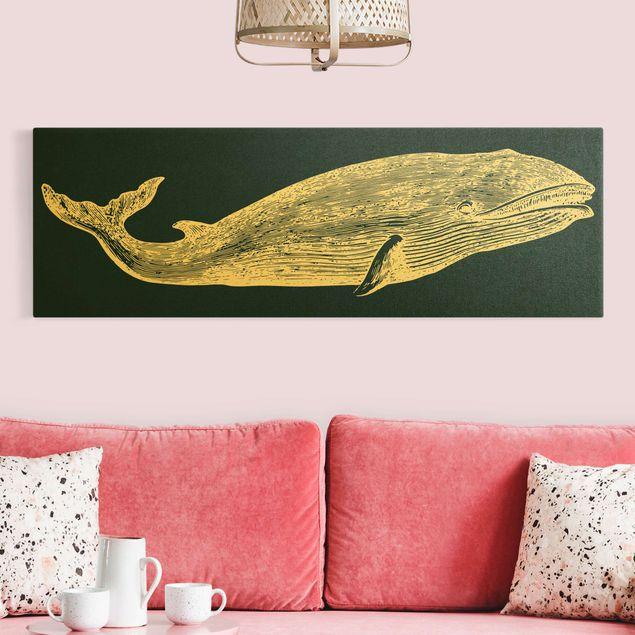 Leinwandbild Gold - Illustration Wal auf Blau - Panorama 3:1