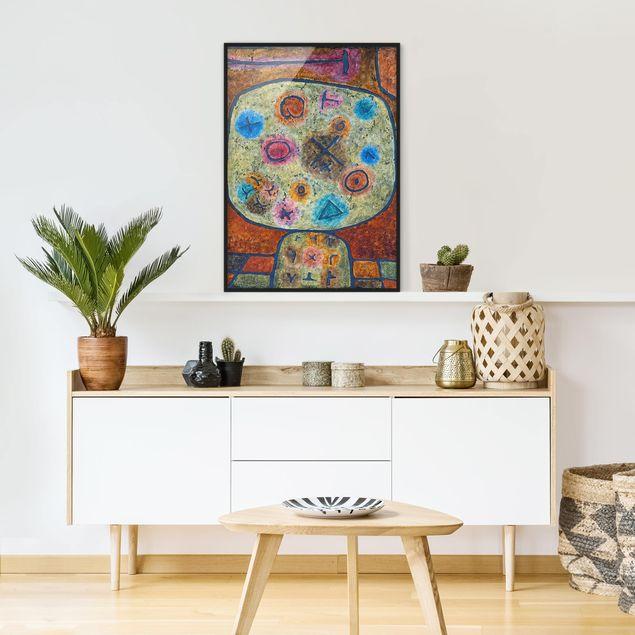 Bild mit Rahmen - Paul Klee - Blumen in Stein - Hochformat 3:4