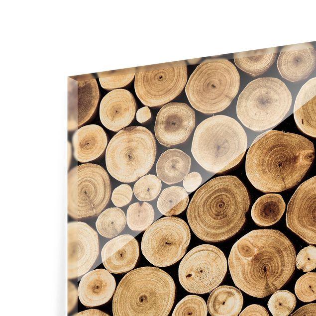 Glas Spritzschutz - Homey Firewood - Quadrat - 1:1