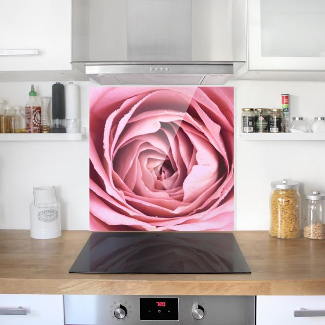Glas Spritzschutz - Rosa Rosenblüte - Quadrat - 1:1