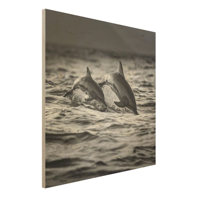 Holzbild - Zwei springende Delfine - Quadrat 1:1