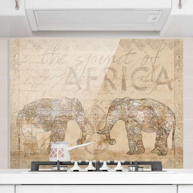 Glas Spritzschutz - Vintage Collage - Spirit of Africa - Querformat - 4:3
