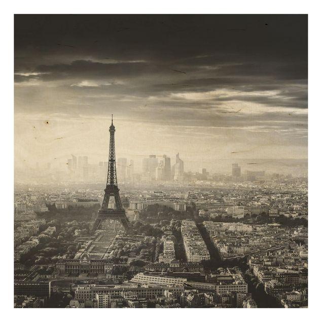 Holzbild - Der Eiffelturm von Oben Schwarz-weiß - Quadrat 1:1