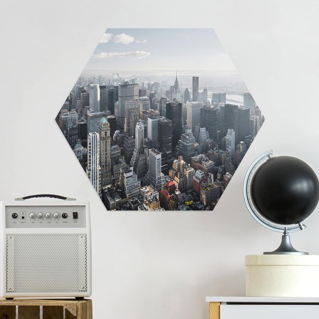 Hexagon Bild Alu-Dibond - Upper Manhattan New York City