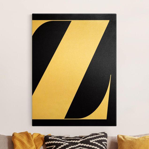 Leinwandbild Gold - Antiqua Letter Z Schwarz - Hochformat 3:4