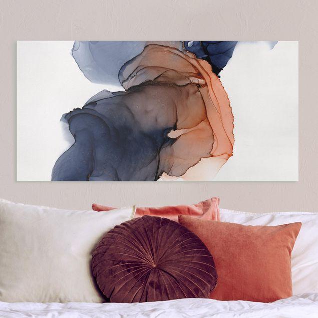 Leinwandbild - Ozeantropfen Blau-Orange mit Gold - Querformat 2:1
