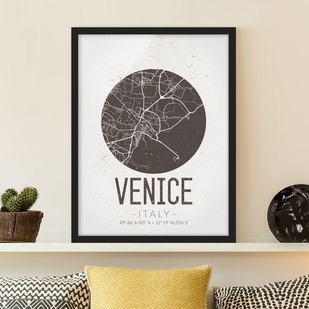 Bild mit Rahmen - Stadtplan Venice - Retro - Hochformat 3:4