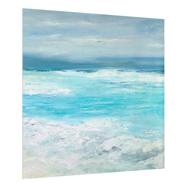 Glas Spritzschutz - Sturm auf dem Meer II - Quadrat - 1:1