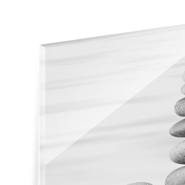 Glas Spritzschutz - Steinturm im Wasser Schwarz-Weiß - Quadrat - 1:1
