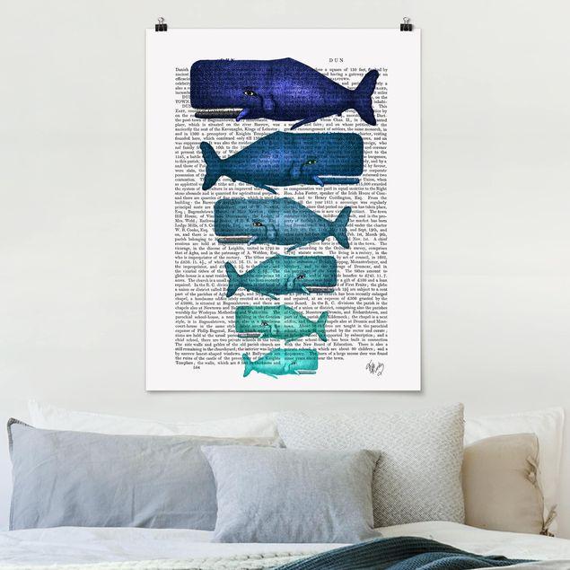 Poster - Tierlektüre - Walfamilie - Hochformat 3:4