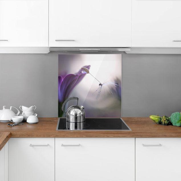 Glas Spritzschutz - Purple Rain - Quadrat - 1:1