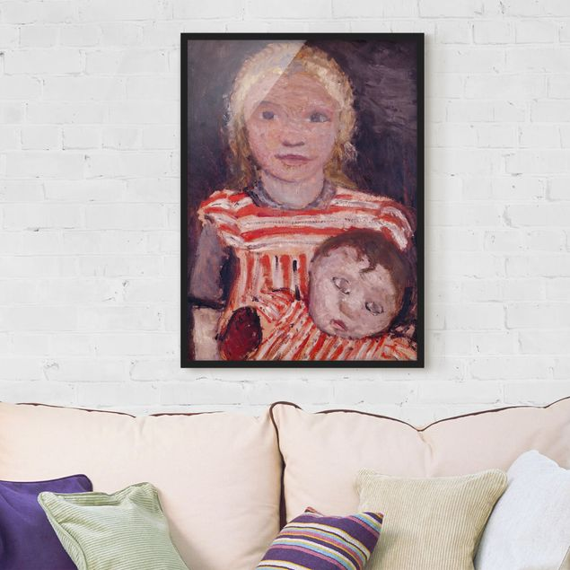 Bild mit Rahmen - Paula Modersohn-Becker - Mädchen mit Puppe - Hochformat 3:4
