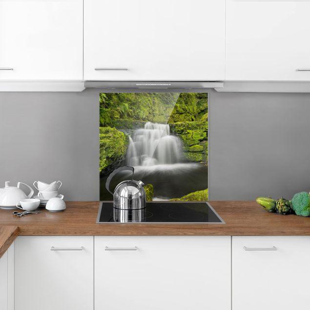 Glas Spritzschutz - Lower McLean Falls in Neuseeland - Quadrat - 1:1