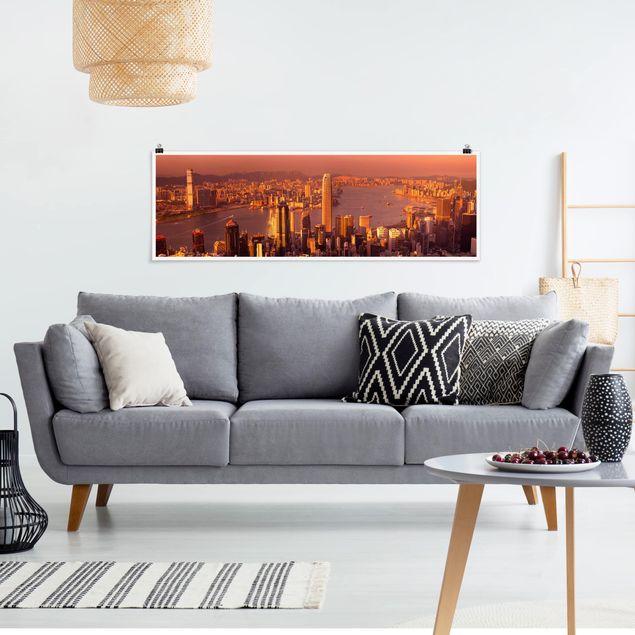 Poster - Hongkong Sunset - Panorama Querformat