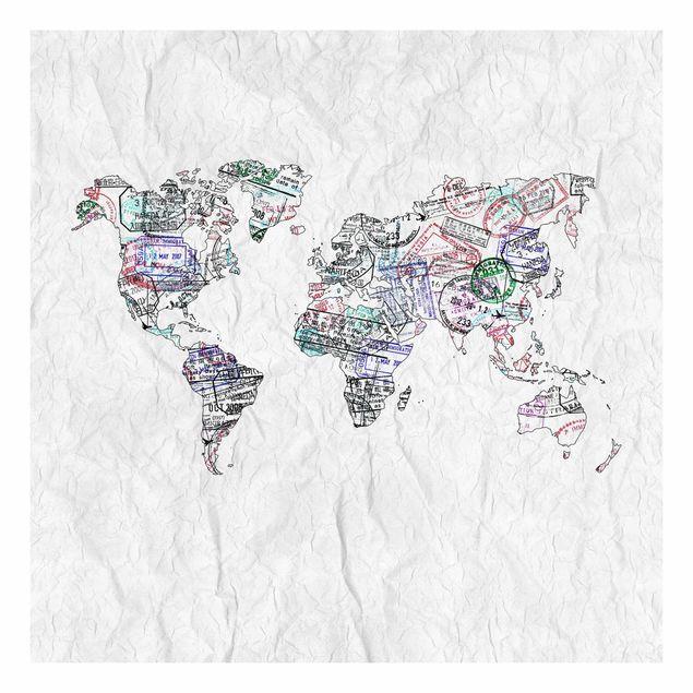 Beistelltisch - Reisepass Stempel Weltkarte