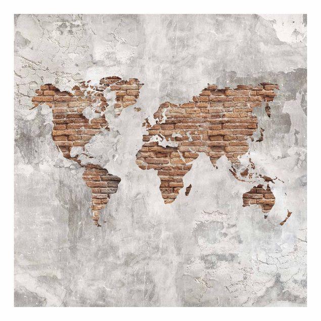 Beistelltisch - Shabby Beton Backstein Weltkarte