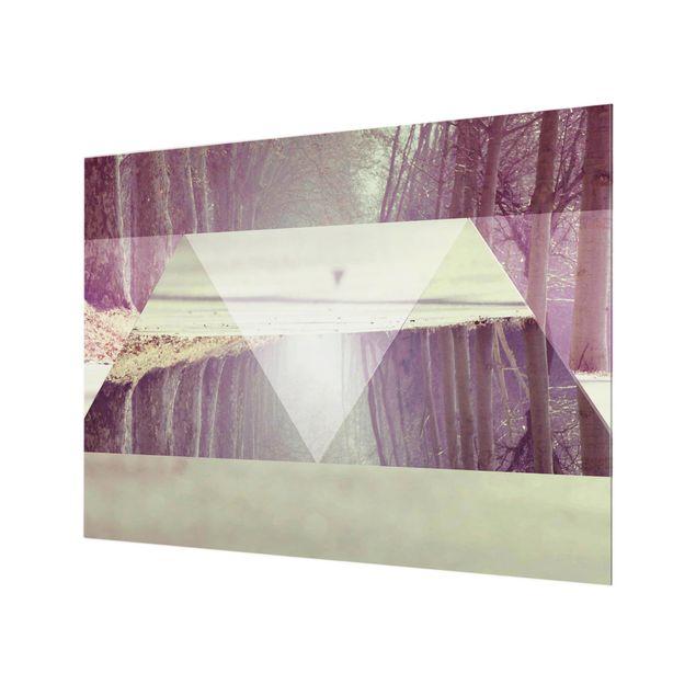 Glas Spritzschutz - Geometrie trifft Waldweg - Querformat - 4:3