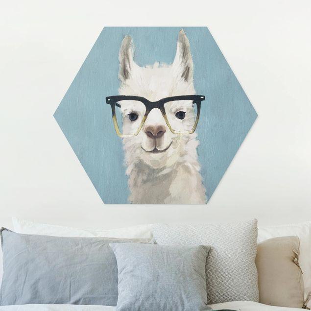 Hexagon Bild Forex - Lama mit Brille IV
