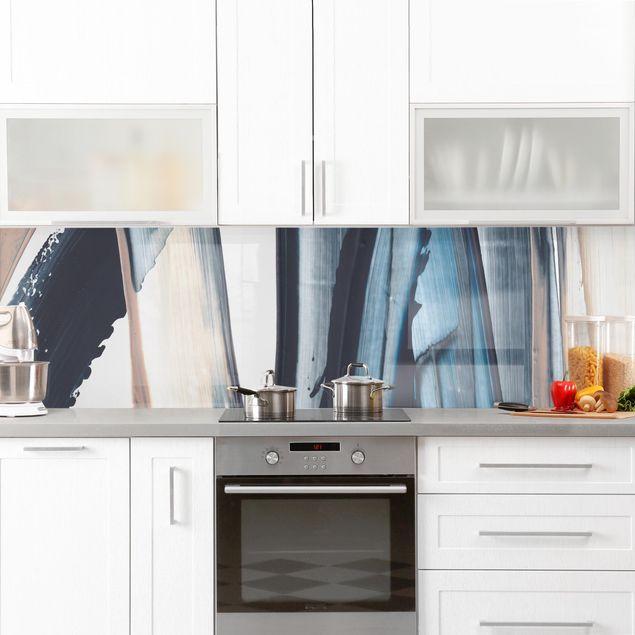 Küchenrückwand - Blau und Beige Streifen