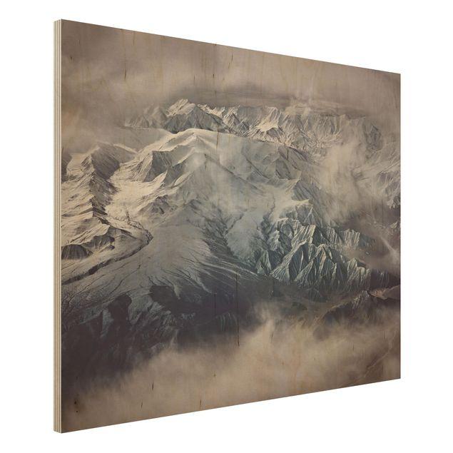 Holzbild - Berge von Tibet - Querformat 3:4