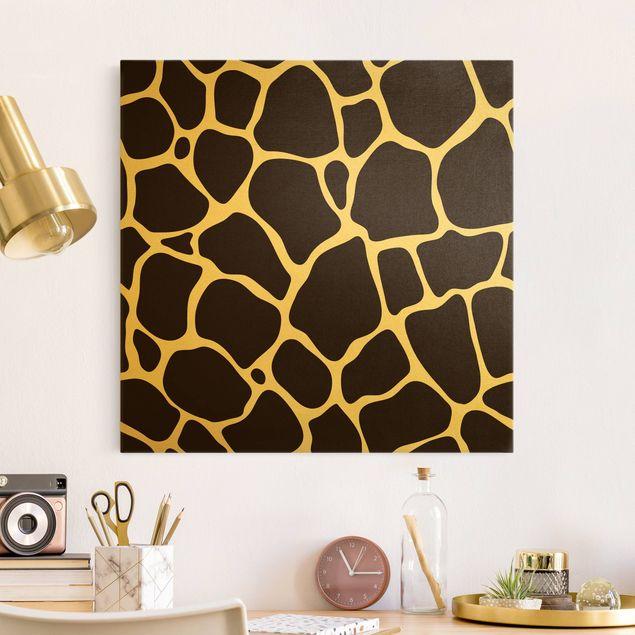 Leinwandbild Gold - Giraffen Print - Quadrat 1:1