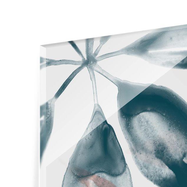 Glas Spritzschutz - Tropisches Orakel petrol I - Quadrat - 1:1