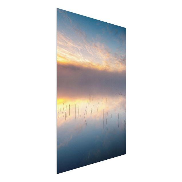 Forex Fine Art Print - Sonnenaufgang schwedischer See - Hochformat 3:2