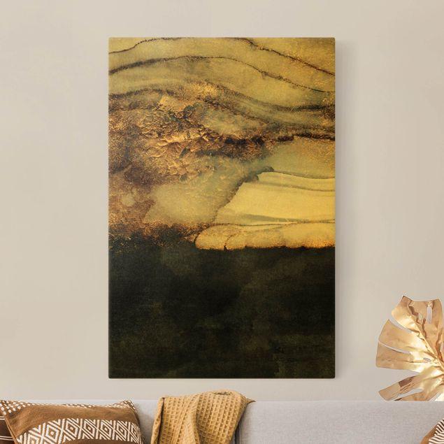 Leinwandbild Gold - Goldener Marmor gemalt - Hochformat 2:3