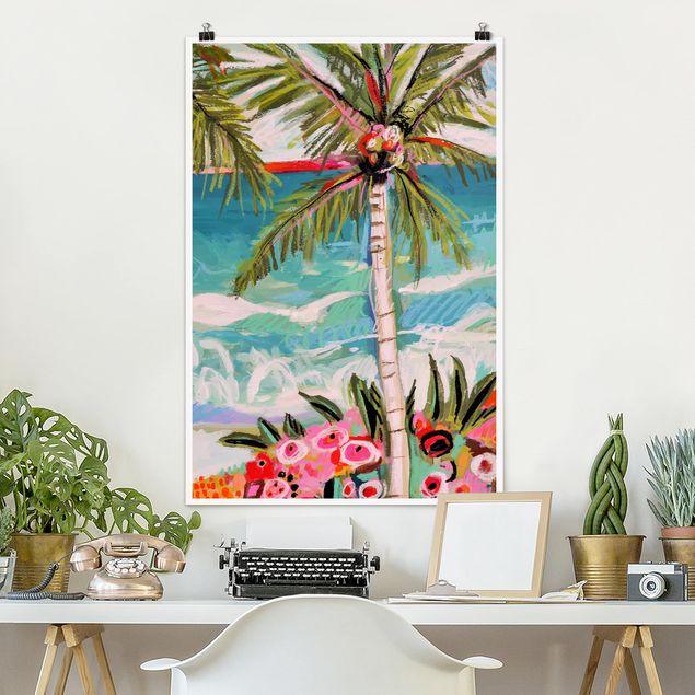 Poster - Palme mit pinken Blumen II - Hochformat 3:2