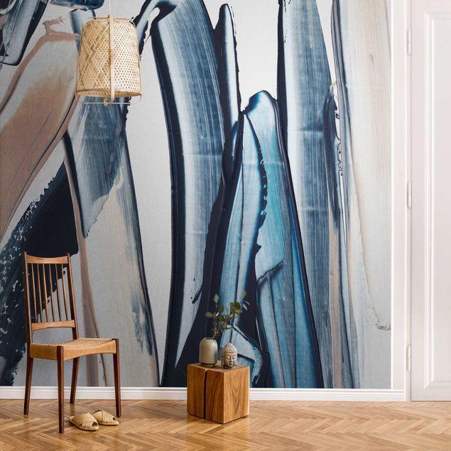 Metallic Tapete - Blau und Beige Streifen