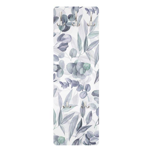 Garderobe - Blaue Eukalyptus Aquarellblätter