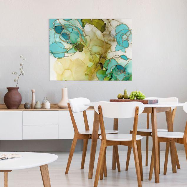 Leinwandbild - Blumenfacetten in Aquarell - Querformat 4:3