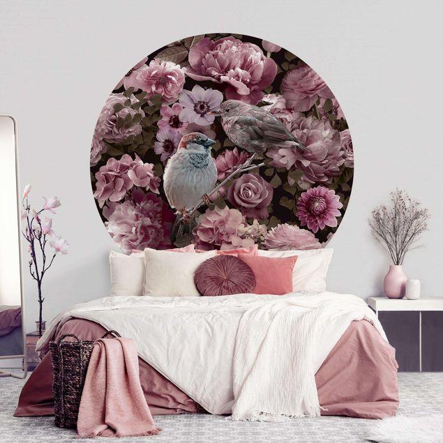 Runde Tapete selbstklebend - Blumenparadies Spatzen in Altrosa