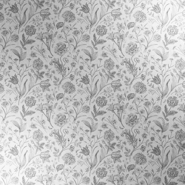 Metallic Tapete  - Blumentanz in Grau