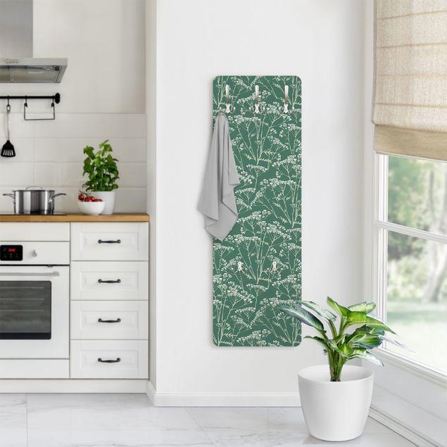 Garderobe - Blumenwiesen Muster Grün