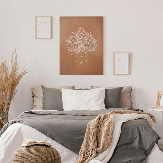 Leinwandbild - Boho Lotusblüte weiß Korkoptik - Hochformat 3:4