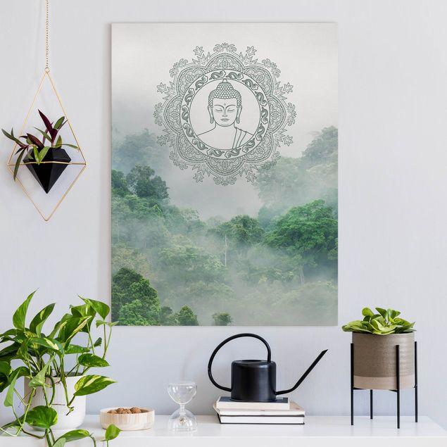 Leinwandbild - Buddha Mandala im Nebel - Hochformat 3:4
