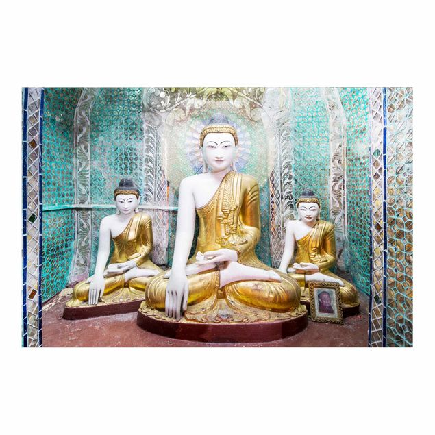 Metallic Tapete - Buddha Statuen
