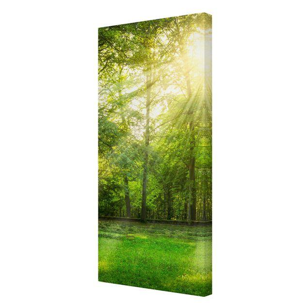 Leinwandbild - Spaziergang im Wald - Hochformat 1:2