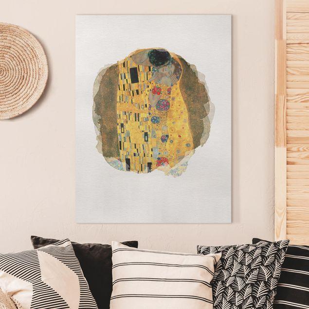 Leinwandbild - Wasserfarben - Gustav Klimt - Der Kuss - Hochformat 4:3