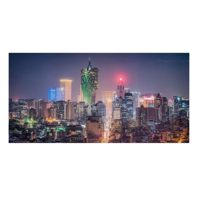 Leinwandbild - Nachtlichter von Macau - Querformat 2:1