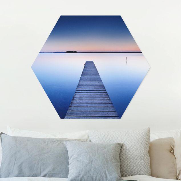 Hexagon Bild Forex - Flusssteg bei Sonnenuntergang