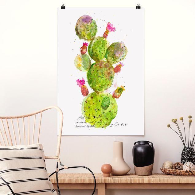 Poster - Kaktus mit Bibelvers III - Hochformat 3:2