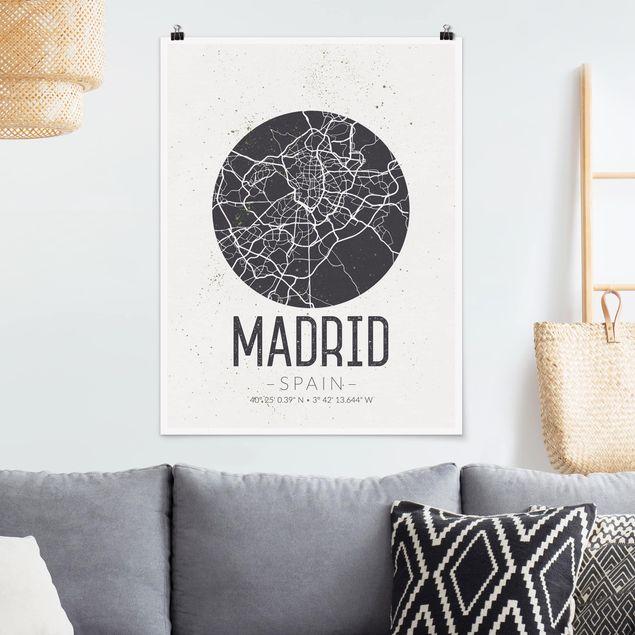 Poster - Stadtplan Madrid - Retro - Hochformat 3:4